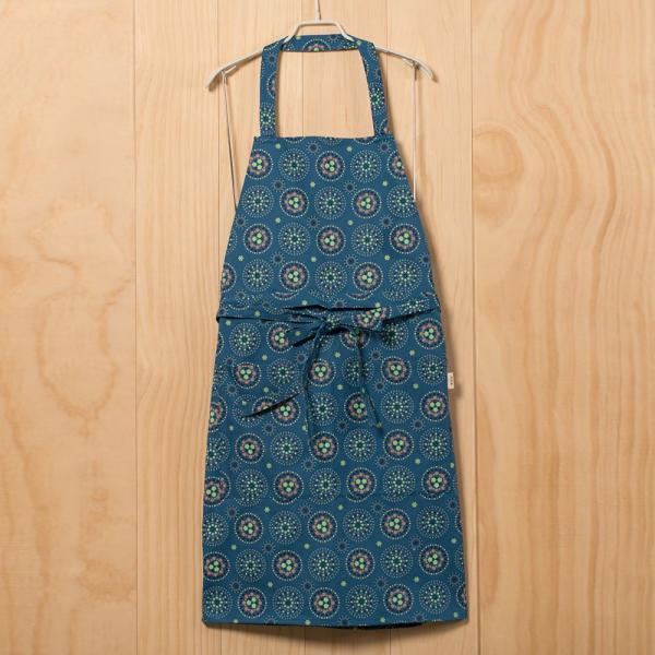 全身/半身兩用圍裙/煙火/暮色藍綠 圍裙