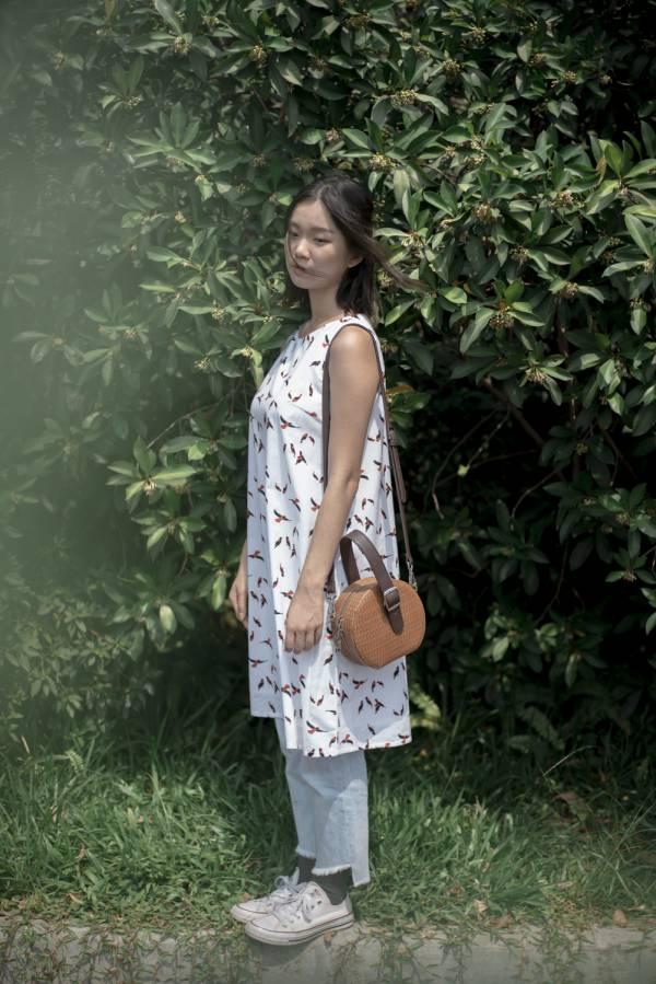 A字連身膝下洋裝/朱鸝/經典紅黑 2019,連身裙,洋裝,台灣八哥