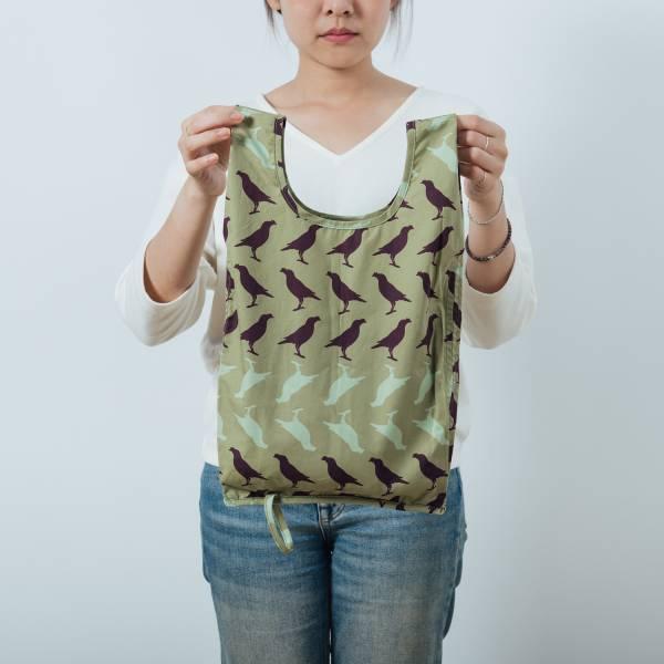 可收捲小背心袋/台灣八哥5號/油畫紫綠 手提袋, 背心袋, 購物袋