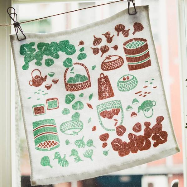 紗布小方毛巾/米力系列/大稻埕物件/綠 小方巾, 口水巾