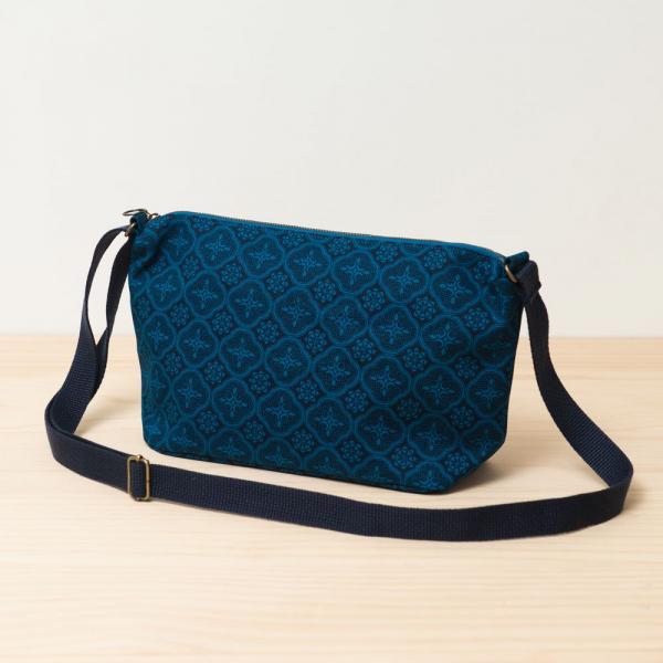 橫式拉鏈側背包/玻璃海棠/宅邸深藍 側背包, 斜背包