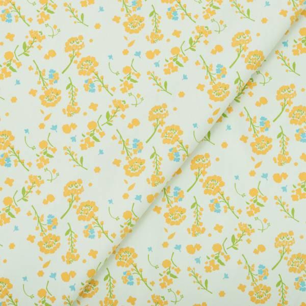 手印棉帆布(滿花)-250g/y/花草台灣味/油菜花淺綠 布料, 棉帆布, 手作材料