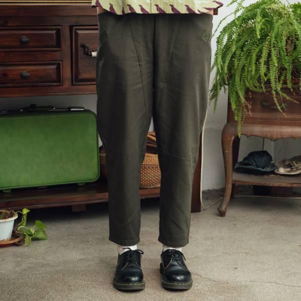 拼接寬版長褲/棉麻綠色 褲子,拼接,印花布料,長褲
