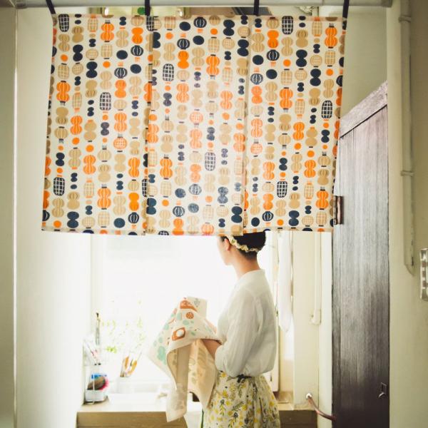 三片式掛帘/米力系列/燈籠/橘藍 門簾, 掛帘