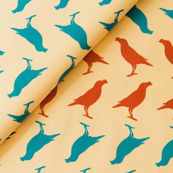 手印棉帆布-250g/y/台灣八哥5號/黃昏藍紅 布料, 棉帆布, 手作材料