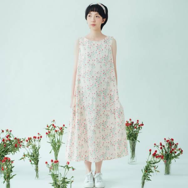 A字連身長洋裝-柔棉款/花草台灣味/圓仔花粉紅 連身裙,洋裝