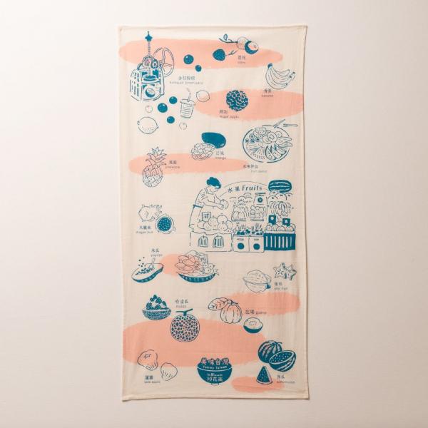 長巾/美味台灣_水果/蔚藍粉 布巾, 手帕, 掛壁裝飾
