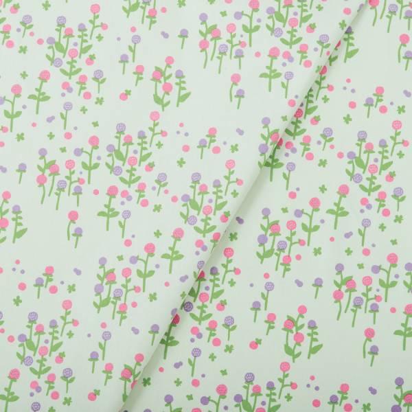 手印棉帆布(滿花)-250g/y/雜花/圓仔花淺綠 布料, 棉帆布, 手作材料