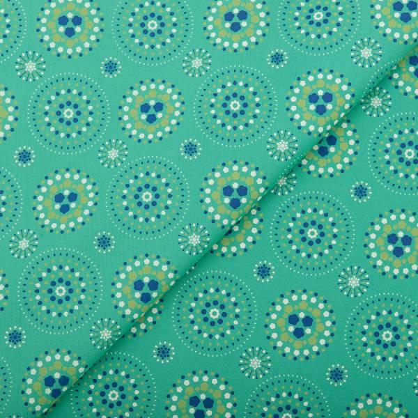 手印棉帆布(滿花)-250g/y/煙火/草綠色 布料, 棉帆布, 手作材料