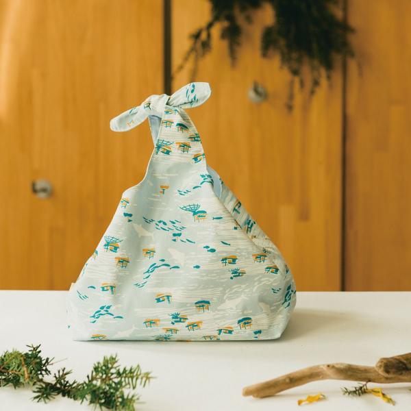 兔耳便當袋/海的寶物_漁船/淡海藍 便當袋, 兔耳袋