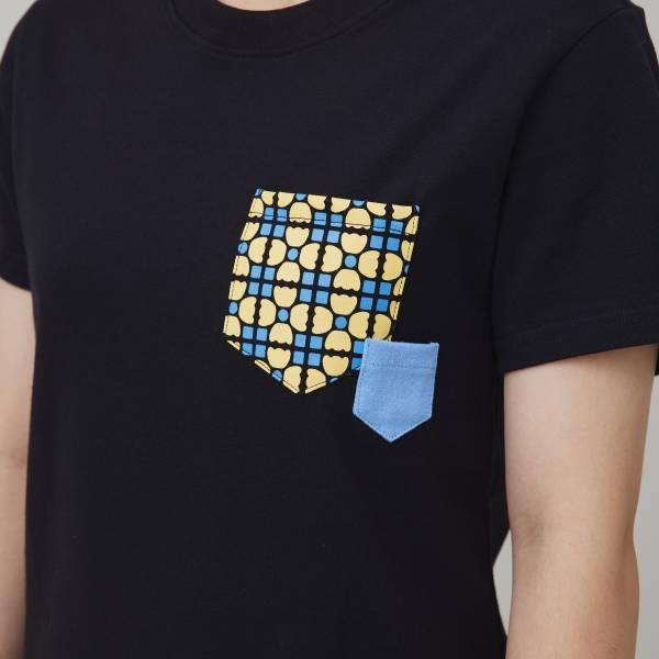 印花口袋棉T/老磁磚4號/黑/黃藍