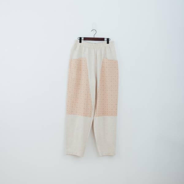 拼接寬版長褲/玻璃海棠/麻黃紅褐 褲子,拼接,印花布料,長褲