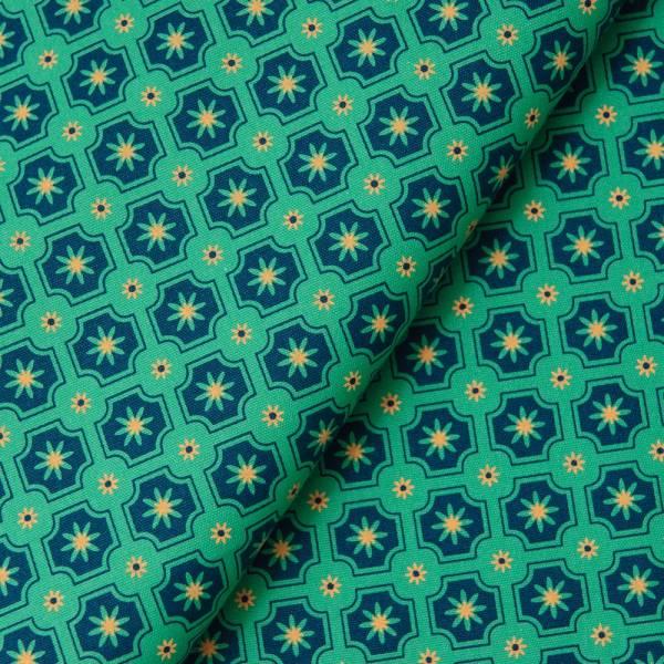 手印棉帆布_滿花-250g/y/老磁磚2號/摩洛哥藍綠 布料, 棉帆布, 手作材料