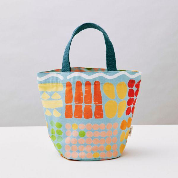圓底小提袋/老派冰果室/冰藍色 戀夏冰果室 ,冰果室,復古印花,收納包,便當袋,手提包