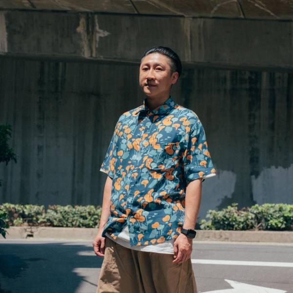 短袖襯衫-男裝/雜花/海芋橘藍 中性襯衫,襯衫,花襯衫,印花布料