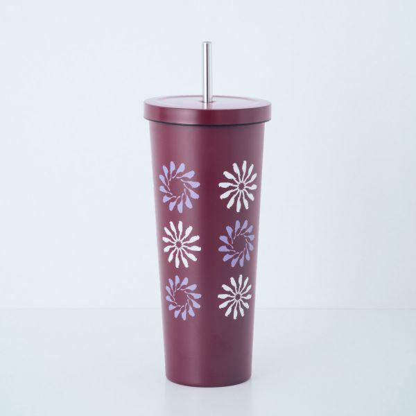 印花樂xWOKY不鏽鋼吸管杯700ml/烏秋圈圈/紅