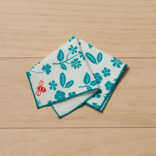 紗布方塊巾/野花草與蜜蜂/天空藍 純棉手帕, 紗布手帕