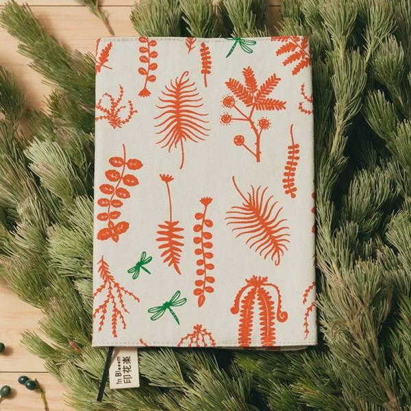 20K布書衣/野花草與蜻蜓/磚橘紅色 書衣