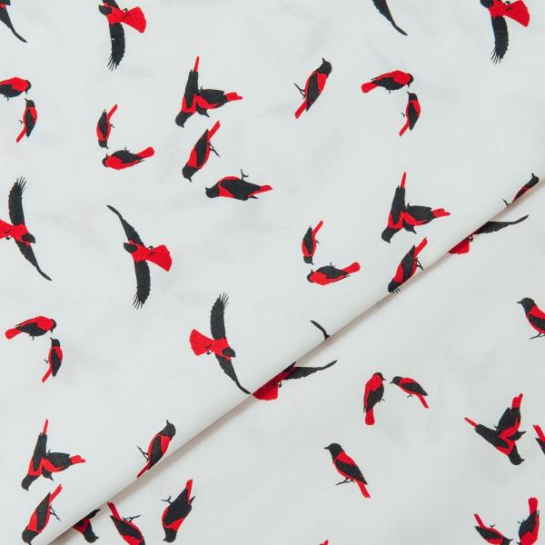 寬幅平織印花棉布/朱鸝/經典紅黑 布料, 薄棉布