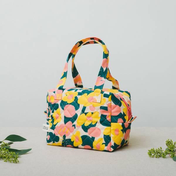鋪棉便當袋/藝術家聯名/印花樂 x UULIN/荷包蛋花朵/粉色 便當袋