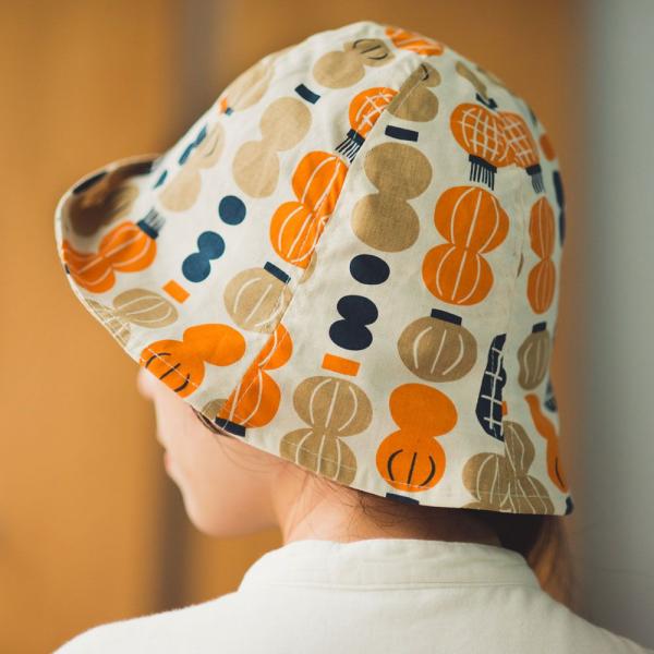 花瓣帽/米力系列/燈籠/橘藍 遮陽帽, 花瓣帽