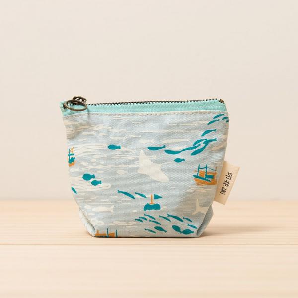 拉鏈零錢包/海的寶物_漁船/淡海藍 零錢包
