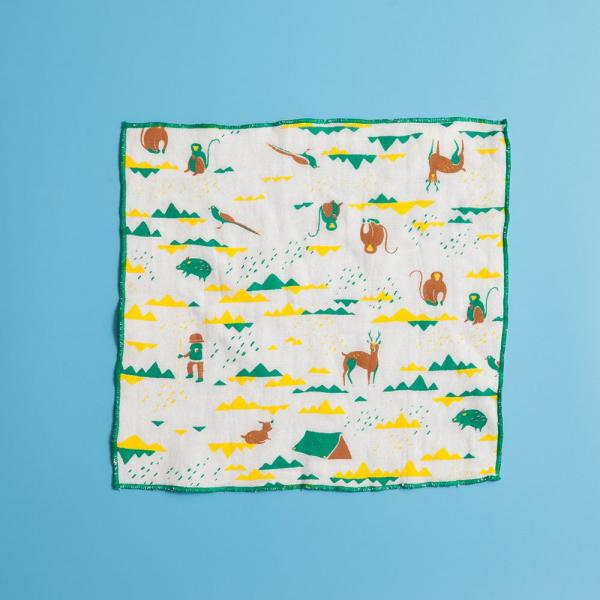 紗布方塊巾/山中健行/健康黃綠 小方巾, 口水巾