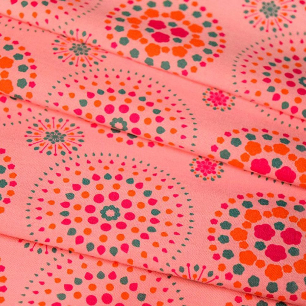 寬幅平織印花棉布/煙火/桃粉橘綠 布料, 棉布, 手作材料