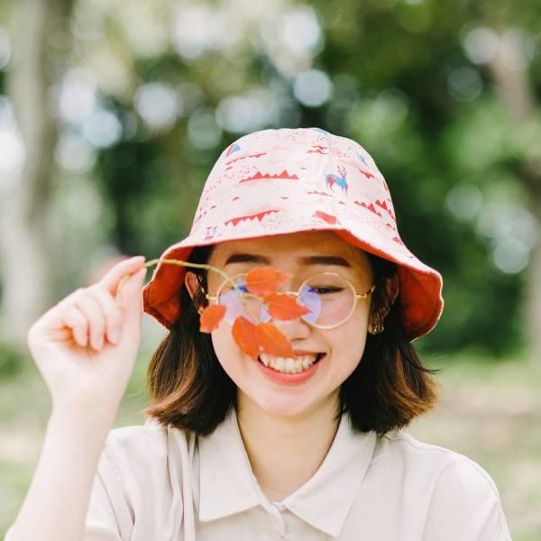 【有機棉】花瓣帽/山中健行/花卉藍紅 遮陽帽, 花瓣帽
