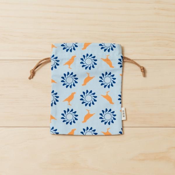 束口小物袋/台灣八哥/烏秋/天藍 束口袋, 收納袋