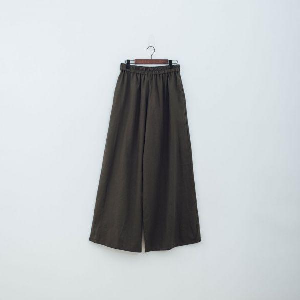 休閒寬版長褲/棉麻綠色 褲子,寬褲,印花布料,長褲