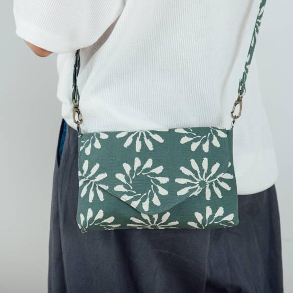 側背信封口小包/烏秋圈圈/水鴨綠色 隨身包, 側背包