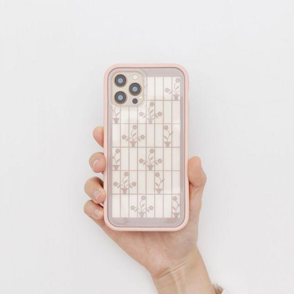 【現貨/含iPhone12】印花樂X犀牛盾NX邊框背蓋兩用殼/鐵花窗/背蓋盆花粉紅 手機殼, 手機套, 犀牛盾, iPhone 手機殼, iPhone 12