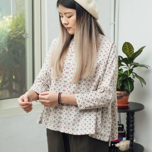 中性寬版八分袖襯衫/老磁磚2號/雲塵灰色 中性襯衫,襯衫,花襯衫,印花布料