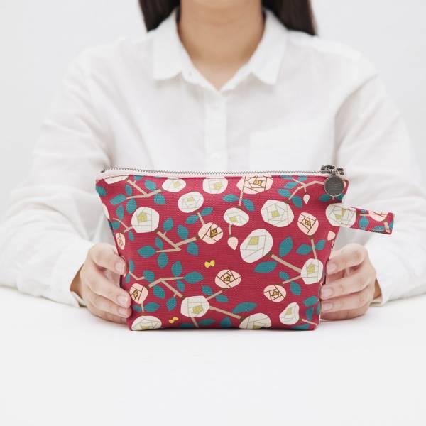 拉鏈梯形收納包/藝術家聯名/印花樂 x 米力/玫瑰花紅色 化妝包, 盥洗包, 收納包