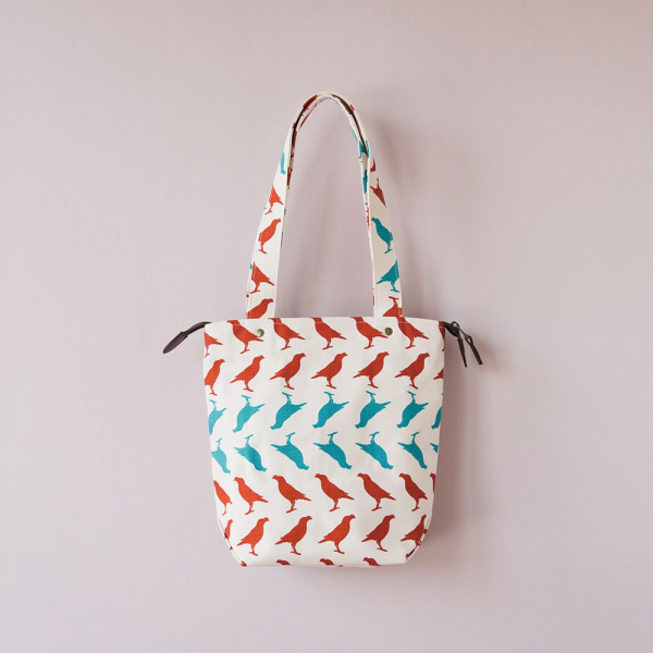 拉鏈直筒帆布包/台灣八哥5號/古宅紅粉 帆布包
