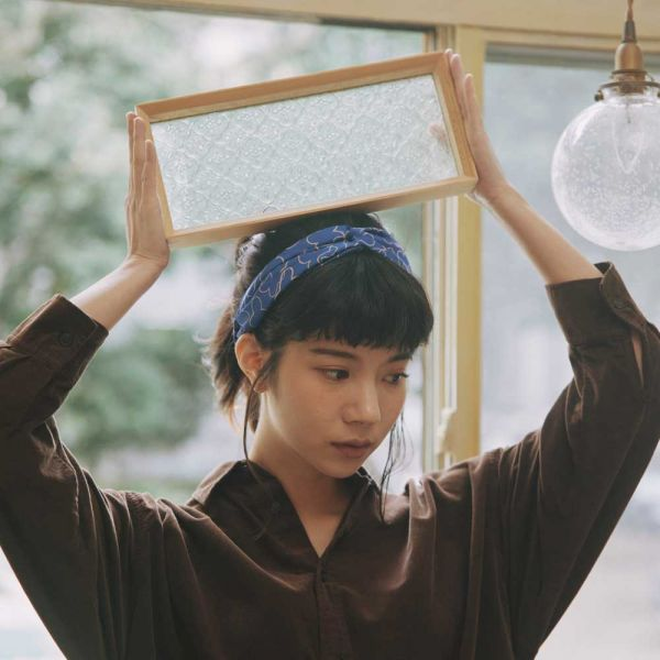 絲巾款髮帶/玻璃海棠2號/粉紫深藍