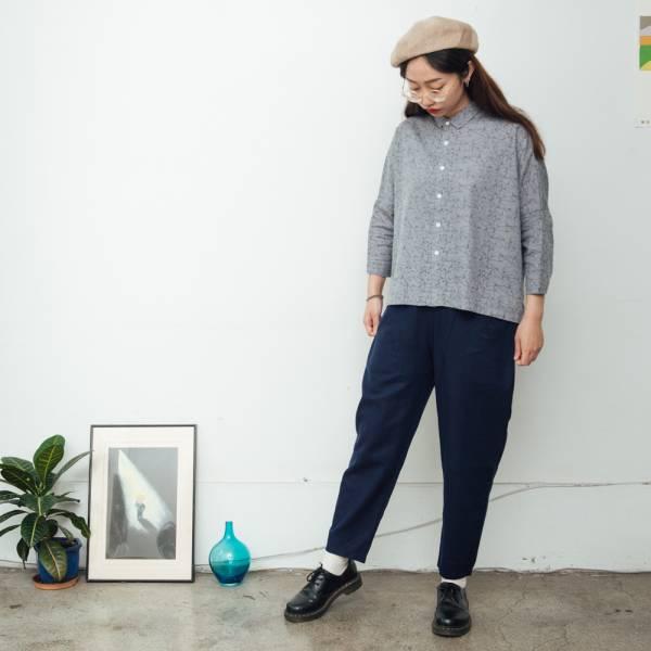 拼接寬版長褲/棉麻藍色 褲子,拼接,印花布料,長褲