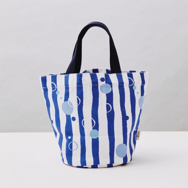 圓底小提袋/碎冰泡泡/清涼藍白 戀夏冰果室 ,冰果室,復古印花,收納包,便當袋,手提包