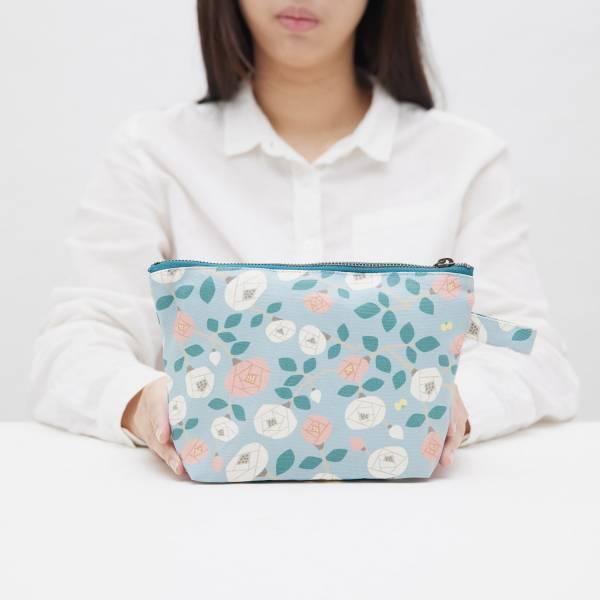 拉鏈梯形收納包/藝術家聯名/印花樂 x 米力/玫瑰花灰藍 化妝包, 盥洗包, 收納包