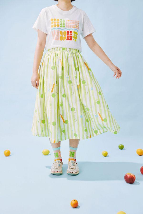 細褶寬擺傘裙/碎冰泡泡/金桔檸檬 戀夏冰果室 ,冰果室,復古印花,文青穿搭,裙子