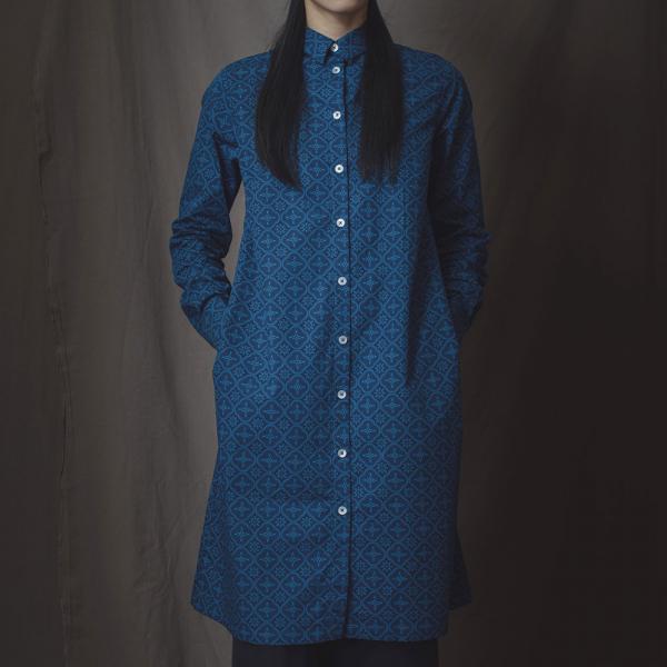 長袖長版襯衫/玻璃海棠/宅邸深藍 長版襯衫