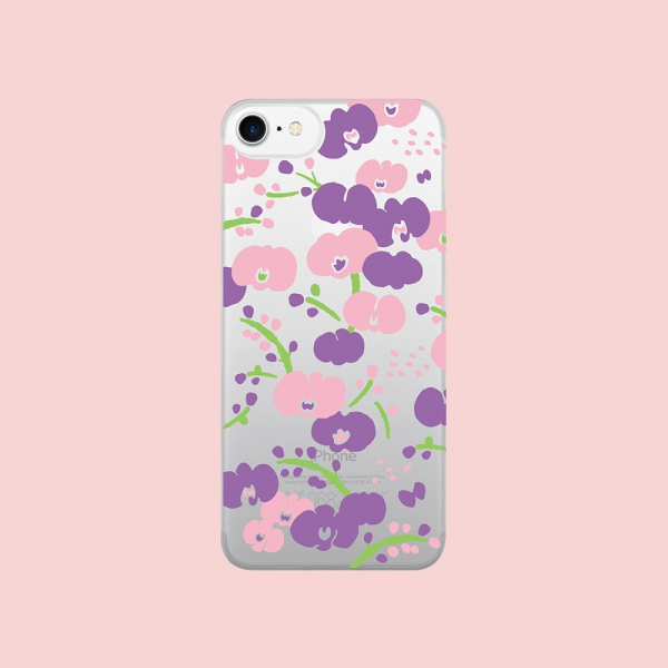 【現貨】印花樂X犀牛盾NX背板-iPhone X系列/雜花/背蓋透明蘭花粉 手機殼, 手機套, 犀牛盾, iPhone 手機殼