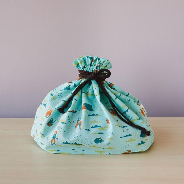 束口旅行衣物袋-L/山中健行/粉霧淡藍 旅行衣物袋