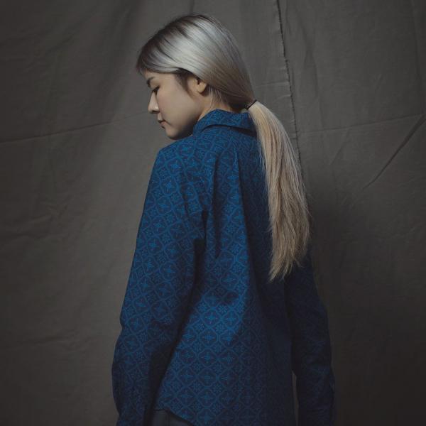 長袖襯衫-女款/玻璃海棠/宅邸深藍 襯衫, 長袖襯衫