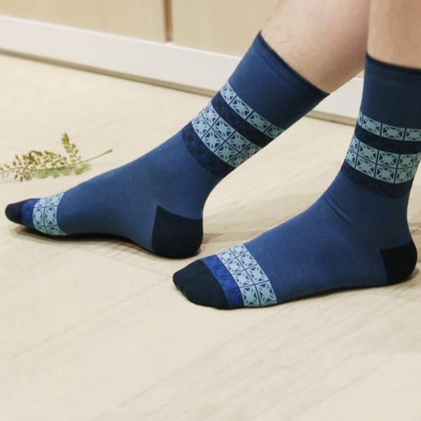 印花樂厚中長襪-舊花磚1號/紳士藍色 襪子, 中長襪
