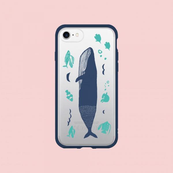 【現貨】印花樂X犀牛盾NX邊框背蓋兩用殼/海的寶物_魚群/背蓋大鯨魚藍色 手機殼, 手機套, 犀牛盾, iPhone 手機殼