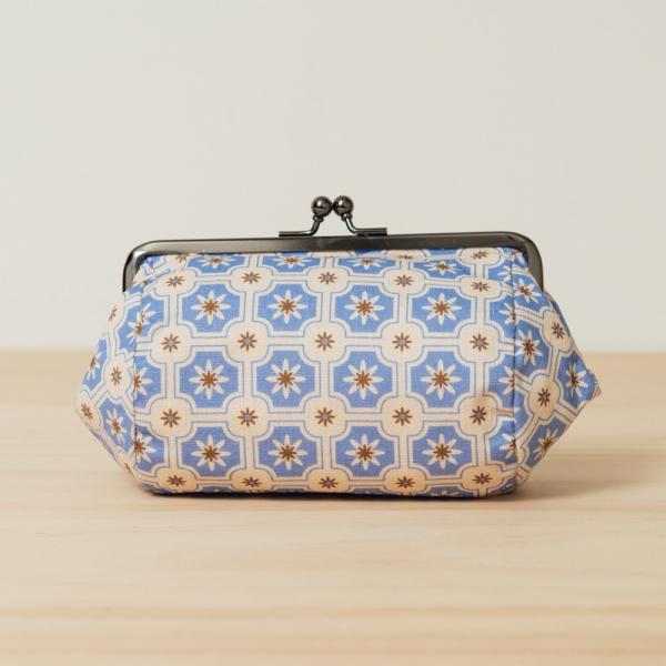 和風圓筒口金手拿包/老磁磚2號/繡球花紫 口金包, 零錢包, 化妝包, 手拿包