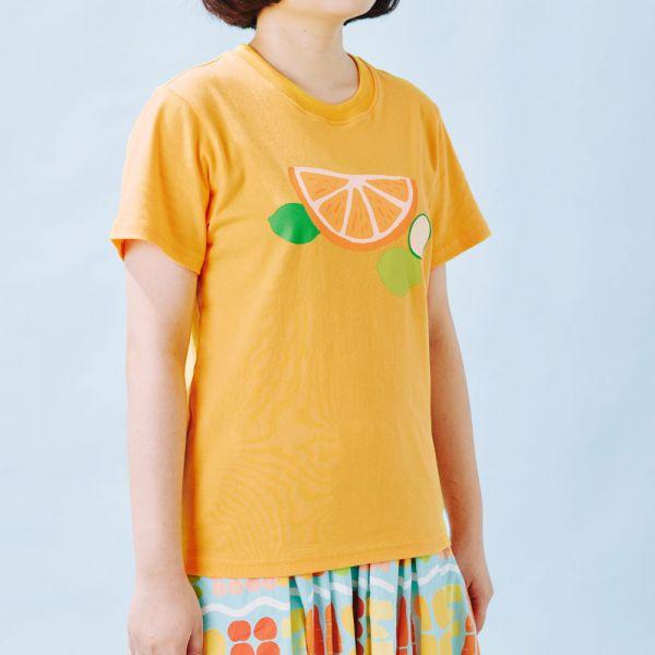 印花T-限定花色/切片果果/橘黃色 印花樂 ,戀夏冰果室 ,冰果室 ,復古印花,文青穿搭