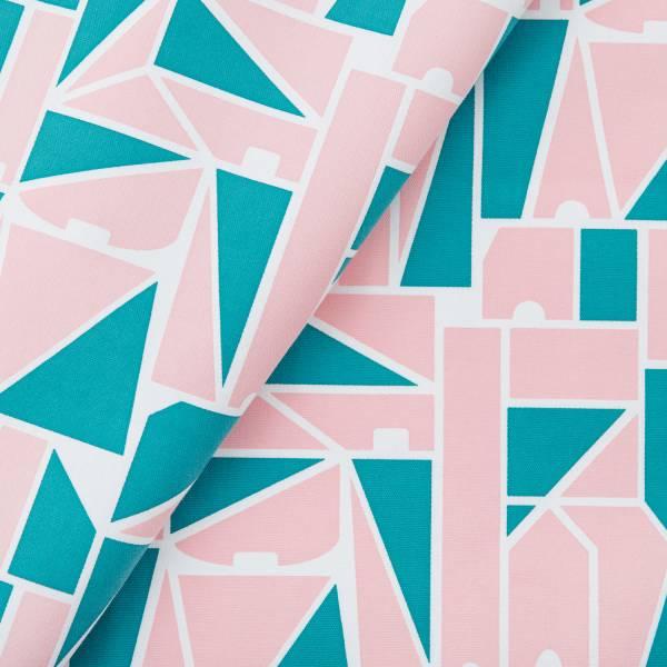 手印棉帆布(滿花)-250g/y/藝術家聯名/印花樂 x LEMONNI/粉綠 布料, 棉帆布, 手作材料